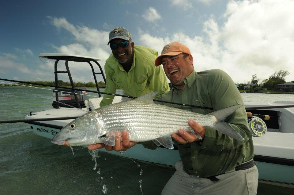 Doug McKnight from Yellow Dog fly fishing with a double digit Andros Island Bonefish.