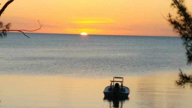 Sunset from Red Bays Lodge on the West side of North Andros Island. The lodge is was completed by Benry Smith to allow easy access to the Bonefish, Tarpon and Permit on the remote west coast of Andros Island.